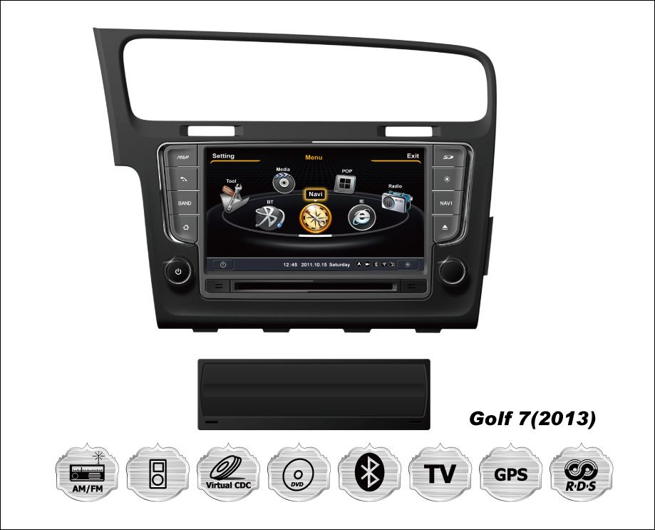 8 tft volkswagen golf 7 mk7 autoradio bluetooth gps dvd mp3 usb 3d dvbtv ebay. Black Bedroom Furniture Sets. Home Design Ideas